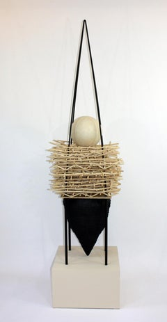 """NESTING:HOLD"", Sculpture, Wood, Steel, Cold Resin, Reed, Mounted on Wood Base"