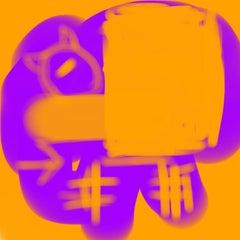 """NO, GRIMACE, NO! 04082018 356pm"", Abstract, Digital, Orange, Purple, Cat, 2018"