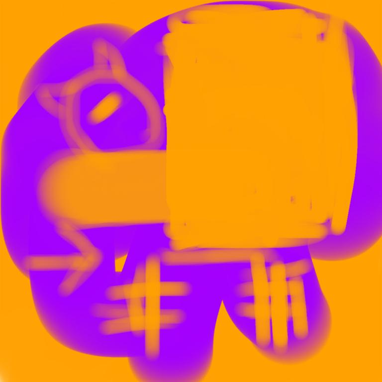 """Justin Neely Abstract Print - """"NO, GRIMACE, NO! 04082018 356pm"""", Abstract, Digital, Orange, Purple, Cat, 2018"""