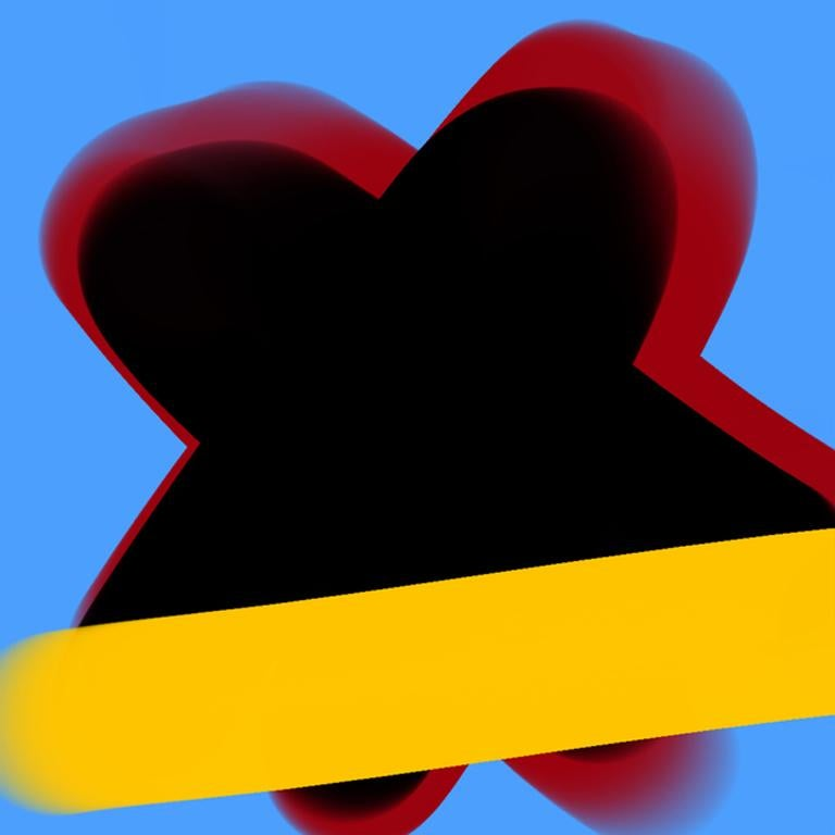 """Justin Neely Abstract Print - """"BISOUS 03312018 1125pm"""", Abstract, Digital, Archival Paper, Blue, Red, Yellow"""
