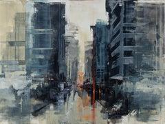 Hamburg dark noon II, Painting, Oil on Wood Panel