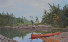 Red Canoe, Painting, Acrylic on Canvas