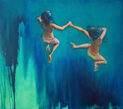 Frog Girls, Painting, Oil on Canvas