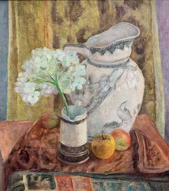 Still Life With Hydrangea Flower and Fruit, Painting, Oil on Canvas