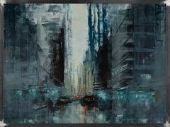 New York dark noon IV, Painting, Oil on Wood Panel