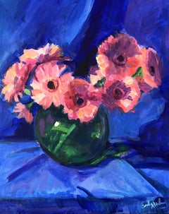 Pink Gerbers, Royal Blue, Painting, Acrylic on Canvas