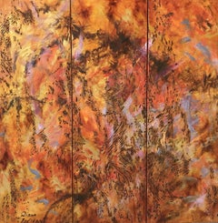Waltz of Flowers. Triptych, Painting, Oil on Canvas