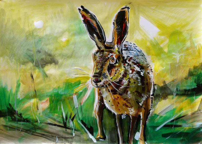 """""""rabbit"""" Acrylic on paper 60X85 cm :: Painting :: Impressionist :: This piece comes with an official certificate of authenticity signed by the artist :: Ready to Hang: No :: Signed: Yes :: Signature Location: back :: Paper :: Landscape :: Original"""