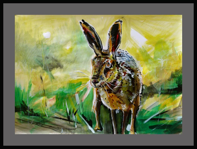 Rabbit, Painting, Acrylic on Paper For Sale 2