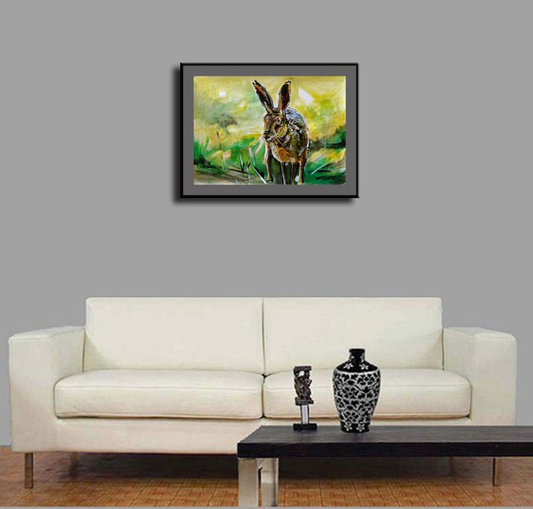 Rabbit, Painting, Acrylic on Paper For Sale 3