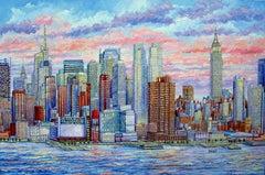 New York City - Manhattan Skyline Hudson River, Painting, Oil on Canvas
