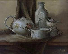 A Chickadee Birds Tea, Painting, Oil on Canvas