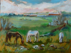 Farming Horse Grazers, Painting, Oil on Canvas