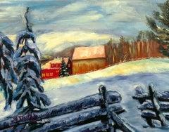 Winter's Light(FRAMED), Painting, Oil on Canvas