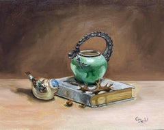 The Dragon Teapot(FRAMED), Painting, Oil on Canvas