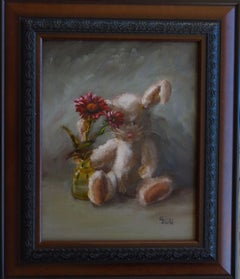 Autumn Afternoon ~ Floral Rabbit (FRAMED), Painting, Oil on Wood Panel