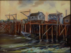 Maritime Boathouses (FRAMED), Painting, Oil on Canvas