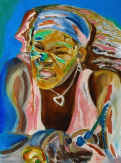 Serena....Famous Woman Tennis Figure, Painting, Oil on Canvas
