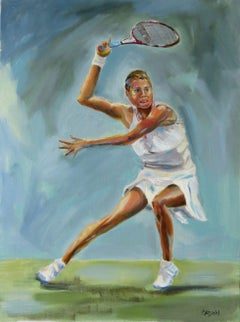 Woman Tennis Figure, Painting, Oil on Canvas