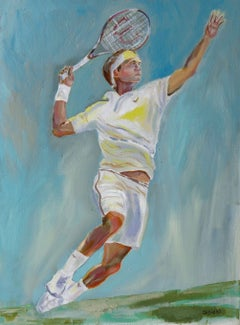 Male Tennis Figure, Painting, Oil on Canvas