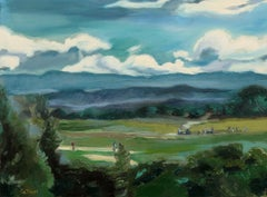 Golf under Cumulus Cloud Sky, Painting, Oil on Canvas