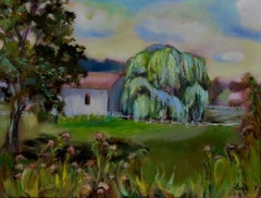 Country Willow Tree, Painting, Oil on Canvas