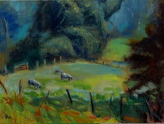 Spring Meadow Sheep, Painting, Oil on Canvas