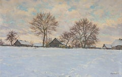 Winter in the village of Khoruzhi, Painting, Oil on Canvas