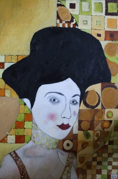 woman with black hair, Painting, Oil on Canvas