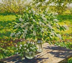 Still Life. Bird cherry, Painting, Oil on Canvas