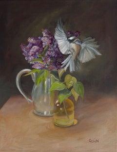 The Bird's Crash Landing   (FRAMED), Painting, Oil on Canvas
