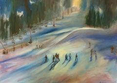 Ski School (FRAMED), Painting, Oil on Canvas