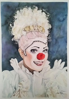 Clown, Painting, Watercolor on Watercolor Paper