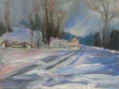 Seasonal Country Snowy Night (FRAMED), Painting, Oil on Canvas
