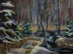 Winter Season's Brook (FRAMED), Painting, Oil on Canvas