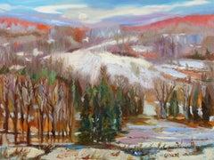 Seasonal Sunset Evening Glow, Painting, Oil on Canvas