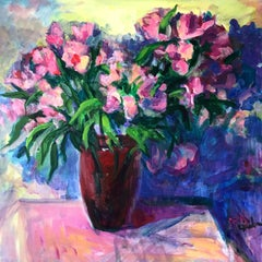 Alstroemeria in Red Vase Two, Painting, Acrylic on Canvas