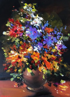 Flowers in a Dark Room, Painting, Oil on Canvas
