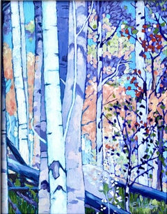 Stand of Birches #1, Painting, Oil on Canvas