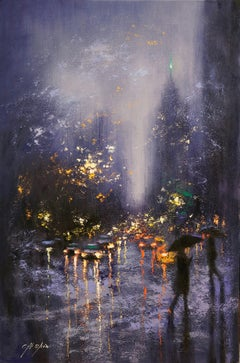 Blue Rain in Central Park West, Painting, Oil on Canvas