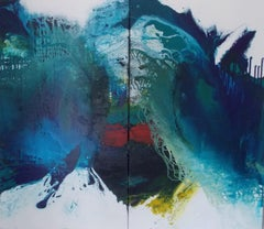Blue Detection 1+2 - Dyptichon, Painting, Acrylic on Canvas