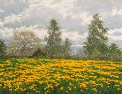 Dandelion Field, Painting, Oil on Canvas