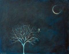 Night Owl, Painting, Acrylic on Wood Panel