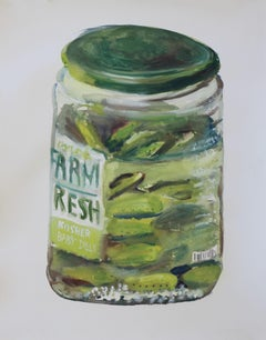 Still life of a jar of pickles, Painting, Watercolor on Watercolor Paper