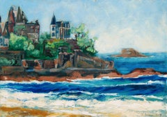 Oil on canvas of Dinard in Bretagne in France, Painting, Oil on Canvas