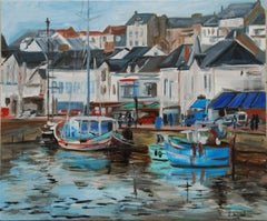 Original oil from a fishing port in France. Pornic, Painting, Oil on Canvas