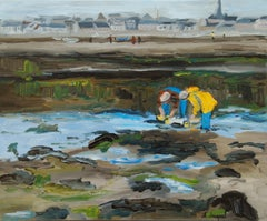 Oil painting low tide Bretagne France, Painting, Oil on Canvas