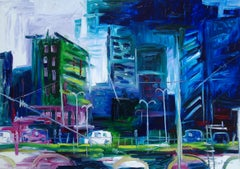 Original oil painting of a modern city, Painting, Oil on Canvas