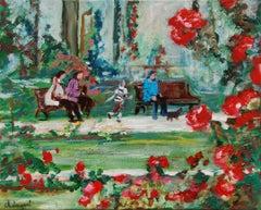 oil The rose garden Nancy, Painting, Oil on Canvas