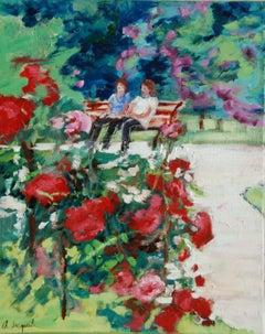 Oil Public garden France, Painting, Oil on Canvas